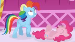 Size: 3559x1986 | Tagged: safe, artist:porygon2z, pinkie pie, rainbow dash, alternate hairstyle, dynamic dash, laughing