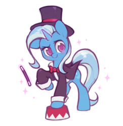 Size: 1265x1301 | Tagged: safe, artist:dawnfire, trixie, pony, unicorn, clothes, colored pupils, cute, diatrixes, female, hat, magic, magician, mare, pedestal, raised hoof, simple background, solo, tailcoat, top hat, transparent background, wand