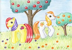 Size: 1024x720   Tagged: safe, artist:normaleeinsane, apple spice, citrus sweetheart, g3, apple, flower, food, orange, traditional art, tree
