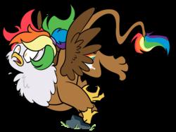 Size: 874x653   Tagged: safe, artist:egophiliac, oc, oc only, oc:rainbow feather, griffon, cute, falling, interspecies offspring, magical lesbian spawn, offspring, parent:gilda, parent:rainbow dash, parents:gildash, rock, solo, trip, tripping