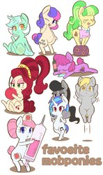 Size: 1861x3134   Tagged: safe, artist:braffy, berry punch, berryshine, bon bon, cherry jubilee, chickadee, derpy hooves, dj pon-3, lyra heartstrings, ms. peachbottom, nurse redheart, octavia melody, sweetie drops, vinyl scratch, earth pony, pegasus, pony, unicorn, adorabon, alcohol, background six, belly, belly button, berrybetes, bipedal, bottle, cherry, chubby, cute, derpabetes, drool, drunk, eyes closed, female, food, freckles, fruit, heartabetes, looking at you, lyrabetes, mare, octavia riding dj pon 3, one eye closed, open mouth, peachabetes, ponies riding ponies, red eyes, riding, simple background, sitting, sleeping, smiling, standing, suitcase, syringe, tavibetes, text, thermometer, vinylbetes, wall of tags, white background, wink, wrong eye color