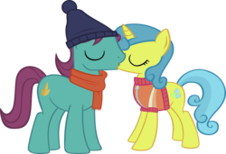 Size: 3500x2397 | Tagged: safe, artist:ironm17, autumn leaf, lemon hearts, beanie, clothes, hat, kissing, lemonleaf, male, scarf, shipping, short-sleeved sweater, simple background, straight, sweater, transparent background, vector, winter outfit