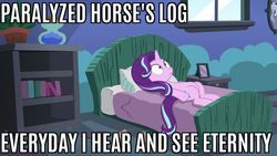 Size: 853x480   Tagged: safe, edit, edited screencap, screencap, starlight glimmer, every little thing she does, bed, bravest warriors, caption, image macro, meme, mind blown, paralyzed horse, solo, starlight bedridden, starlight's room, text, thousand yard stare