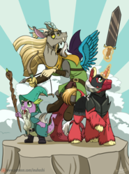 Size: 900x1218 | Tagged: armor, arrow, artist:inuhoshi-to-darkpen, big macintosh, bow and arrow, bow (weapon), captain wuzz, clothes, discord, draconequus, dragon, dungeons and discords, garbuncle, hat, helmet, horned helmet, magic, magic staff, male, open mouth, pony, race swap, raised hoof, roleplaying, safe, scene interpretation, sir mcbiggen, spike, staff, stallion, sword, unicorn, unicorn big mac, wizard hat