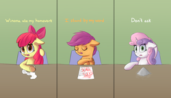 Size: 1889x1080 | Tagged: safe, artist:vanillaghosties, apple bloom, scootaloo, sweetie belle, earth pony, pegasus, pony, unicorn, chair, comic, cutie mark crusaders, dialogue, excuse, female, filly, floppy ears, homework, paper, sweetie fail