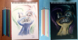 Size: 1500x777 | Tagged: artist:tsitra360, colored pencil drawing, dungeons and discords, inverted colors, irl, opposite fluttershy, photo, safe, signature, sketchpad, solo, traditional art