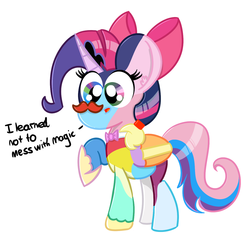 Size: 1439x1341 | Tagged: alicorn, alicorn oc, appleflaritwidashpie, applejack, artist:pastelhorses, crown, facial hair, fluttershy, fusion, hair bow, hoof shoes, jewelry, mane six, moustache, oc, oc:clusterfuck, oc only, pinkie pie, pony, rainbow dash, rarity, regalia, safe, solo, tumblr, twilight sparkle