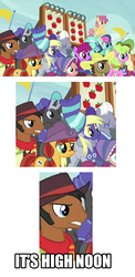 Size: 1000x2048 | Tagged: safe, screencap, berry punch, berryshine, beuford, bon bon, bonnie rose, daisy, dark moon, derpy hooves, dizzy twister, flower wishes, graphite, jade spade, lyra heartstrings, may fair, mccree, orange swirl, prairie belle, royal riff, sweetie drops, earth pony, pegasus, pony, unicorn, buckball season, background pony, background pony audience, cowboy hat, crossover, female, frown, glare, gritted teeth, hat, head tilt, it's high noon, jesse mccree, male, mare, overwatch, sad, smiling, stallion, stetson, underp