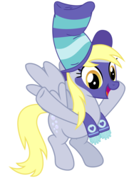 Size: 3000x4000 | Tagged: safe, artist:cheezedoodle96, derpy hooves, pegasus, pony, buckball season, .svg available, cheering, clothes, face paint, female, flying, hat, mare, scarf, simple background, solo, svg, transparent background, underp, vector