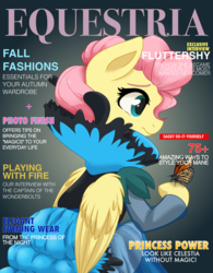 Size: 3200x4096 | Tagged: safe, artist:itstaylor-made, fluttershy, butterfly, alternate hairstyle, clothes, dress, magazine, solo