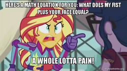 Size: 800x450 | Tagged: safe, edit, edited screencap, screencap, sci-twi, sunset shimmer, twilight sparkle, equestria girls, friendship games, image macro, meme, sunset yells at twilight