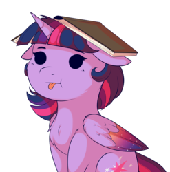 Size: 1777x1797 | Tagged: safe, artist:evehly, twilight sparkle, alicorn, pony, :p, beady eyes, book, book hat, bookhorse, chest fluff, colored wings, colored wingtips, cute, dot eyes, ethereal wings, female, floppy ears, majestic as fuck, poo brain, silly, silly pony, simple background, sitting, solo, tongue out, twiabetes, twilight sparkle (alicorn), two toned wings, white background