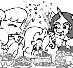 Size: 640x600 | Tagged: safe, artist:ficficponyfic, oc, oc only, oc:emerald jewel, oc:hope blossoms, oc:joyride, earth pony, pony, unicorn, colt quest, amulet, anniversary, apple, basket, blushing, bottle, bowtie, bread, cake, child, clothes, colt, cookie, cute, eyes closed, eyeshadow, female, foal, food, hair over one eye, happy, horn, makeup, male, mantle, mare, monochrome, party, ponytail, request, robe, smiling, soda, streamers