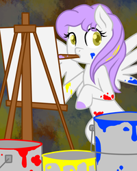 Size: 800x1000   Tagged: safe, artist:lourita-shine, oc, oc only, canvas, easel, mouth hold, paint, paintbrush, painting, solo
