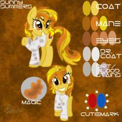 Size: 2000x2000   Tagged: safe, artist:hoodwinkedtales, oc, oc only, oc:sunny summers, fallout equestria, fallout equestria: relics of the past, reference sheet, solo