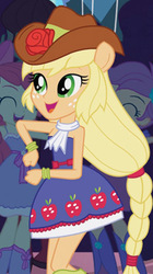 Size: 224x400 | Tagged: safe, screencap, apple bloom, applejack, scootaloo, equestria girls, equestria girls (movie), bare shoulders, boots, cropped, cute, dancing, fall formal, fall formal outfits, high heel boots, ponied up, ponytail, sleeveless, solo focus, strapless