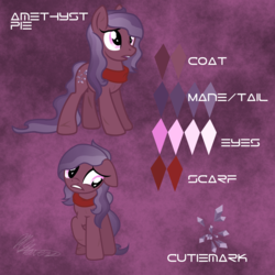 Size: 2000x2000   Tagged: safe, artist:hoodwinkedtales, oc, oc only, oc:amethyst pie, fallout equestria, fallout equestria: relics of the past, reference sheet, solo