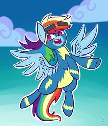 Size: 1280x1493 | Tagged: safe, artist:gintoki23, rainbow dash, newbie dash, clothes, female, flying, solo, wonderbolts uniform