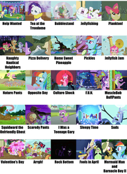 """Size: 2055x2800   Tagged: safe, edit, edited screencap, screencap, apple bloom, applejack, cheerilee, daring do, discord, fluttershy, pinkie pie, princess luna, rainbow dash, rarity, scootaloo, snails, snips, spike, starlight glimmer, sweetie belle, tom, trixie, twilight sparkle, bat pony, dog, parasprite, applejack's """"day"""" off, baby cakes, bloom and gloom, bridle gossip, castle sweet castle, dungeons and discords, equestria girls, equestria girls (movie), friendship is magic, luna eclipsed, magic duel, ponyville confidential, scare master, stranger than fan fiction, the crystalling, the cutie mark chronicles, the one where pinkie pie knows, the return of harmony, three's a crowd, appletini, arrgh!, body cast, bubblestand, culture shock, darkness, destroyed library, egghead, egghead dash, f.u.n., filly, filly fluttershy, flutterbat, fools in april, fun, golden oaks library, hearts and hooves day, help wanted, home sweet pineapple, i was a teenage gary, jellyfish jam, jellyfishing, looking good spike, manebow sparkle, meme, mermaid man and barnacle boy ii, musclebob buffpants, nature pants, naughty nautical neighbors, opposite day, pickles, pizza delivery, plankton, pose, prunity, pruny, race swap, reading rainboom, rock, rock bottom, scaredy pants, sick, sleepy time, spike the dog, spongebob comparison charts, spongebob squarepants, squidward the unfriendly ghost, suds, tea at the treedome, twilight sparkle (alicorn), valentine's day (spongebob episode), wall of tags"""