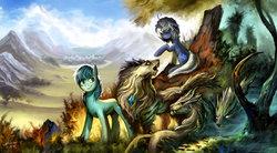 Size: 1280x707 | Tagged: safe, artist:ziom05, oc, oc only, oc:poison joke, pony, wolf, forest, male, mountain, scenery, stallion