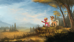 Size: 1920x1080 | Tagged: dead source, safe, artist:shamanguli, applejack, big macintosh, earth pony, pony, male, scenery, stallion