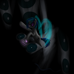 Size: 1500x1500 | Tagged: artist:vabla, dj pon-3, safe, solo, turntable, vinyl scratch, wings