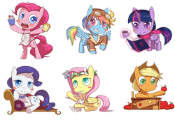 Size: 3543x2479   Tagged: safe, artist:figgot, angel bunny, applejack, fluttershy, pinkie pie, rainbow dash, rarity, twilight sparkle, alicorn, pony, apple, apron, bipedal, bits, book, clothes, cupcake, explicit source, fainting couch, floral head wreath, food, goggles, jacket, jewelry, mane six, necklace, pearl necklace, scarf, twilight sparkle (alicorn)