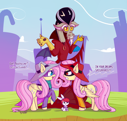 Size: 2340x2235 | Tagged: alternate version, angel bunny, angry, artist:dsp2003, crossover, darkwing duck, darkwing shy, discord, duality, dungeons and discords, fluttershy, gosalyn, morgana, negaduck, open mouth, opposite fluttershy, parody, safe, self ponidox, shrug