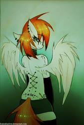 Size: 610x900 | Tagged: safe, artist:foxinshadow, oc, oc only, pegasus, anthro, black underwear, boyshorts, choker, clothes, corset piercing, looking back, nine inch nails, panties, piercing, socks, solo, tattoo, underwear