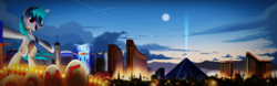 Size: 8000x2500 | Tagged: safe, artist:ruhisu, earth pony, pony, absurd resolution, commission, las vegas, las vegas sign, luxor hotel & casino, mandalay bay, open mouth, part of a set, raised hoof, scenery, skyline, stratosphere las vegas, trump hotel