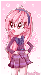 Size: 1024x1840 | Tagged: safe, artist:vixelzf, oc, oc only, oc:riouku, equestria girls, bubblegum, clothes, crystal prep academy, crystal prep academy uniform, crystal prep shadowbolts, cute, equestria girls-ified, hairband, hand on hip, ocbetes, pleated skirt, school uniform, skirt, solo