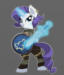 Size: 800x941 | Tagged: safe, artist:itstaylor-made, rarity, pony, semi-anthro, alternative cutie mark placement, bipedal, clothes, ear piercing, earring, glowing horn, jewelry, magic, piercing, rear view, shield, skyrim, solo, sword, telekinesis, the elder scrolls, watermark, weapon