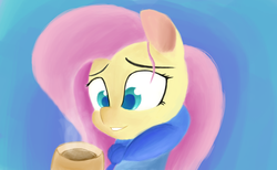 Size: 2184x1347 | Tagged: safe, artist:purpleblackkiwi, fluttershy, bust, chocolate, colored pupils, cozy, cute, female, food, hot chocolate, looking at something, portrait, shyabetes, smiling, soft shading, solo, winter