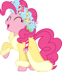 Size: 5170x6000 | Tagged: safe, artist:slb94, pinkie pie, spirit of hearth's warming presents, earth pony, pony, a hearth's warming tail, absurd resolution, christmas, clothes, excited, eyes closed, female, holiday, open mouth, outfit, raised hoof, robe, simple background, solo, transparent background, vector