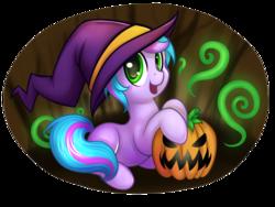 Size: 900x675 | Tagged: safe, artist:pingwinowa, oc, oc only, oc:trilly taffy, halloween, jack-o-lantern, missing cutie mark, pumpkin, solo