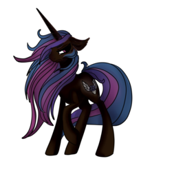 Size: 1080x1080 | Tagged: artist:brainiac, concept, female, full body, mare, nightmare, oc, oc only, oc:rose sniffer, pony, safe, solo, unicorn