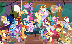 "Size: 1500x912 | Tagged: safe, artist:dm29, apple bloom, applejack, big macintosh, boulder (pet), braeburn, cheerilee, coco pommel, crystal hoof, daring do, derpy hooves, discord, fluttershy, garble, gourmand ramsay, maud pie, pinkie pie, princess cadance, princess celestia, princess ember, princess flurry heart, princess luna, quibble pants, rainbow dash, rarity, saffron masala, shining armor, snowfall frost, spike, spirit of hearth's warming yet to come, starlight glimmer, sunburst, tender taps, thorax, trixie, twilight sparkle, zephyr breeze, alicorn, changeling, dragon, earth pony, pegasus, pony, unicorn, zombie, 28 pranks later, a hearth's warming tail, applejack's ""day"" off, buckball season, dungeons and discords, flutter brutter, gauntlet of fire, newbie dash, no second prances, on your marks, spice up your life, stranger than fan fiction, the cart before the ponies, the crystalling, the gift of the maud pie, the saddle row review, the times they are a changeling, angel rarity, angry, backwards cutie mark, basket, basketball, bathrobe, beach chair, bloodstone scepter, body pillow, bottomless, broom, bubble, buckball, cheerileeder, cheerleader, clothes, cold, cookie zombie, couch, cracked armor, crossing the memes, cutie mark, dancing, devil rarity, discord's celestia face, disguise, disguised changeling, dragon lord spike, emble, female, filly, first half of season 6, garble's hugs, gordon ramsay, handkerchief, hat, hearth's warming, hiatus, jewelry, magic bubble, male, mane six, meme, menu, now you're thinking with portals, partial nudity, pinktails pie, portal, present, rainbow trash, safety goggles, scroll, shipping, sick, speed racer, straight, sweeping, sweepsweepsweep, tenderbloom, the cmc's cutie marks, the meme continues, the story so far of season 6, this isn't even my final form, tiara, tissue, toolbelt, top hat, towel, trash can, twilight sparkle (alicorn), twilight sweeple, wall of tags, wonderbolts uniform"