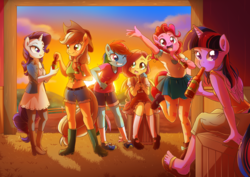 Size: 1414x1000 | Tagged: safe, artist:kelsea-chan, applejack, fluttershy, pinkie pie, rainbow dash, rarity, twilight sparkle, alicorn, anthro, earth pony, pegasus, plantigrade anthro, unicorn, apple cider, belly button, belt, blushing, boots, breasts, cider, clothes, delicious flat chest, denim, dress, ear fluff, feet, female, flattershy, front knot midriff, looking at you, mane six, mary janes, midriff, one eye closed, pantyhose, pleated skirt, sandals, shirt, shoes, shorts, skirt, sneakers, socks, sunset, tanktop, tights, twilight sparkle (alicorn), wink