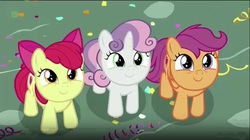 Size: 854x479   Tagged: safe, screencap, apple bloom, scootaloo, sweetie belle, earth pony, pegasus, pony, unicorn, the fault in our cutie marks, adorabloom, cute, cutealoo, cutie mark, cutie mark crusaders, cutie mark cuties, diasweetes, female, filly, looking up, the cmc's cutie marks, weapons-grade cute