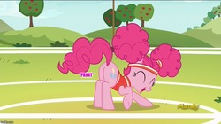 Size: 888x499   Tagged: safe, edit, edited screencap, screencap, pinkie pie, buckball season, bottomless, butt, clothes, fart, fart edit, fart noise, female, onomatopoeia, partial nudity, pinktails pie, plot, solo, sound effects, text