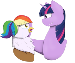 Size: 1280x1063   Tagged: safe, artist:terese, twilight sparkle, oc, oc:rainbow feather, comforting, crush, crying, head pat, interspecies offspring, magical lesbian spawn, offspring, parent:gilda, parent:rainbow dash, parents:gildash