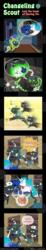Size: 600x3263 | Tagged: safe, artist:vavacung, princess celestia, princess luna, queen chrysalis, changeling, comic:changeling-scout, armor, bandage, comic, descriptive noise, injured, meme, misconception, pointy ponies, speech bubble