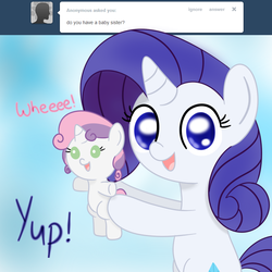 Size: 800x800 | Tagged: safe, artist:mister-true, rarity, sweetie belle, pony, askfillyrarity, baby, baby belle, baby pony, cute, diasweetes, filly, filly rarity, foal, holding a pony, raribetes