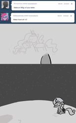 Size: 646x1050 | Tagged: safe, artist:egophiliac, princess celestia, princess luna, alicorn, pony, moonstuck, ask, c:, cute, drawing, dust, feels, female, filly, floppy ears, frown, grayscale, looking down, missing you, monochrome, moon, sad, sitting, smiling, solo, space, stars, tumblr, woona