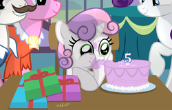 Size: 3062x1960 | Tagged: safe, artist:shutterflyeqd, cookie crumbles, hondo flanks, rarity, sweetie belle, pony, unicorn, 5-year-old, 5-year-old sweetie belle, birthday, birthday cake, cake, clothes, cookieflanks, cute, dessert, diasweetes, eating, family, female, filly, food, grin, hoof hold, mare, messy eating, plate, present, puffy cheeks, raised hoof, rarity's parents, smiling, stuffing