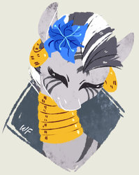 Size: 848x1066 | Tagged: artist:weird--fish, bust, cute, ear piercing, earring, eyes closed, featured image, female, flower, flower in hair, happy, jewelry, necklace, piercing, poison joke, portrait, safe, signature, simple background, smiling, solo, wrong muzzle color, zebra, zecora, zecorable