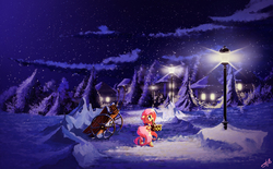 Size: 2100x1300 | Tagged: safe, artist:freeedon, fluttershy, pony, basket, clothes, female, forest, house, lamp, lamp post, looking at something, looking up, mouth hold, night, scarf, scenery, snow, snowfall, solo, street lights, town, wagon, winter