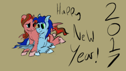 Size: 1280x720 | Tagged: artist:speedpaintthegod, digital art, happy new year 2017, new year, oc, oc only, oc:ruby shine, oc:speedpaint, oc x oc, pegasus, pony, realistic horse legs, romance, safe, shipping, simple background, text