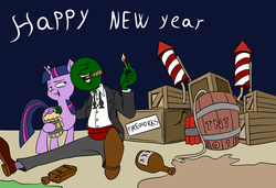 Size: 1500x1024 | Tagged: safe, artist:anontheanon, twilight sparkle, oc, oc:anon, alicorn, human, pony, 2017, alcohol, antifreeze, arm around neck, booze, bowtie, cigar, clothes, colored, dark comedy, drunk, drunk twilight, dynamite, explosives, fireworks, happy new year, happy new year 2017, moonshine, mug, open mouth, sitting, smiling, this can only end well, this will end in explosions, this will end in tears, tnt, tnt barrel, too dumb to live, tuxedo, twilight sparkle (alicorn), what could possibly go wrong