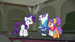 Size: 1920x1080 | Tagged: mr. stripes, plaid stripes, pony, rarity, safe, screencap, smiling, the saddle row review